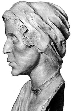 Скульптурная реконструкция выполнена по черепу женщины из погребения №48 на городище Старая Рязань, 12–13 вв.