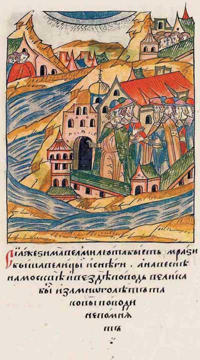Лицевой летописный свод Ивана IV Грозного. 7004 (1504): Лютые морозы, весеннее наводнение