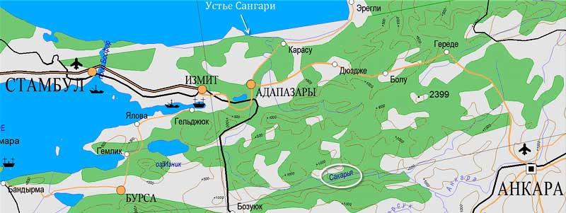 Река Сангария. Использовано ПО Геокомплекс