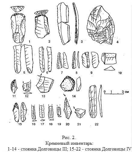 Кремневый инвентарь: 1-14 - стоянка Долговицы III; 15-22 - стоянка Долговицы IV, [21.58]