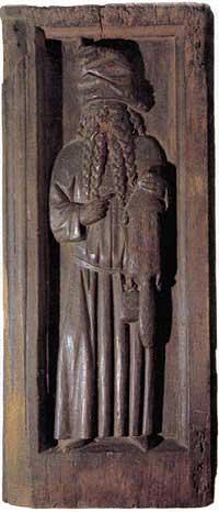 Русский зверолов. Деревянная резная панель из собора г. Любека. 1440-1478 гг., в [21.28]