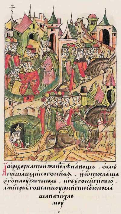 Лицевой летописный свод Ивана IV Грозного. 6953 (1453). Ослепить князя-конкурента