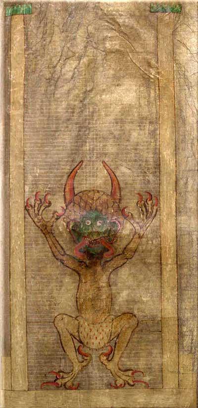 Герман Отшельник, начало XIII. Портрет дьявола из Codex Gigas