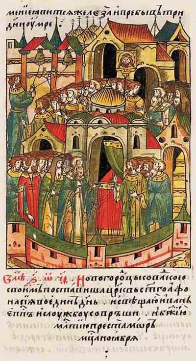 Лицевой летописный свод Ивана IV Грозного. 6899 (1399). Возвести церковь за один день