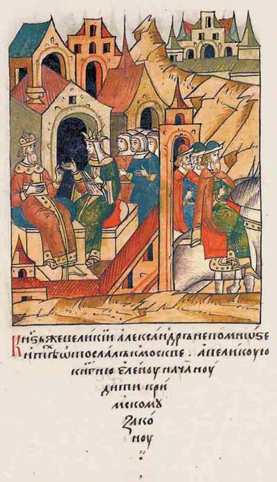Лицевой летописный свод Ивана IV Грозного. 7003 (1503). Прозелитизм. Понуждение московской княжны к смене веры