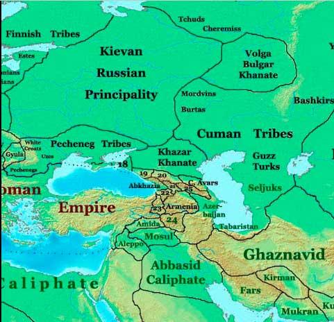 Википедия: земли Киевской империи к 1025 году. По версии лейб-историков. Как не редко бывает — бред.