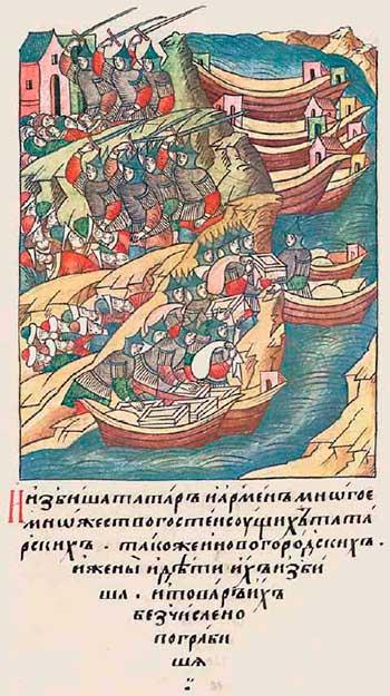 Лицевой летописный свод Ивана IV, 1366. Новгородские ушкуйники грабят купцов на Волге и Каме