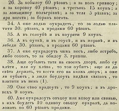 Русская Правда Ярослава. Компенсации за уворованное