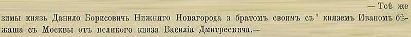 Патриаршая (Никоновская) летопись, 1418. Нижненовгородцы Данило и Иван Борисовичи убежали (отложились) отмосковита Василия