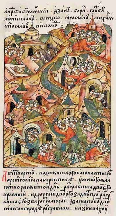 Лицевой летописный свод Ивана IV Грозного. 1165: Юрий Долгорукий упился до смерти. Похороны и грабежи
