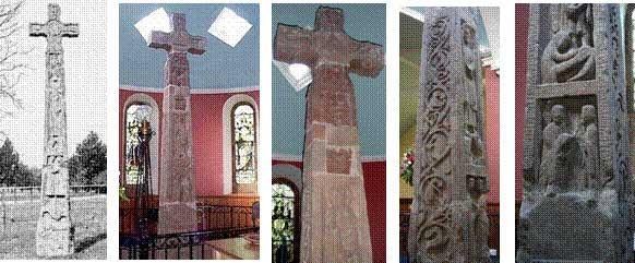 Рис. 1. Крест во дворе церкви (вид спереди, ч/б фото сделано около 1880 г.) и крест внутри церкви в наше время (вид сзади) и его некоторые фрагменты (цветные фото). http://www.zovu.ru/yaz/sk010.gif