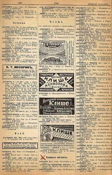 Книжные магазины и реклама по данным Справочника «Вся Москва» за 1901 год, ч.1