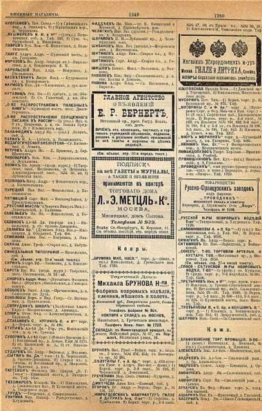Книжные магазины и реклама по данным Справочника «Вся Москва» за 1901 год, ч.2
