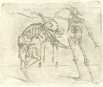 Джованни Брачелли. Alchemist or physician assists ailing skeleton – 20 – Попытка алхимика вернуть жизнь скелету, 1624