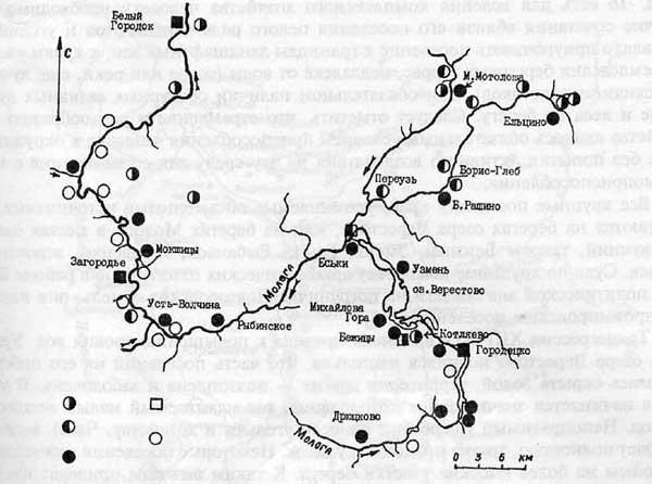 В.А. Петрашенко. Карта памятников VIII—XIII вв. Днепровского побережья к югу от Киева