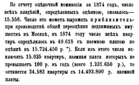 Москва. Число жилых строений, 1874