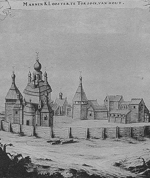 Мужской монастырь из дерева в Торжке. Австрийская национальная библиотека, Вена. Рис. Н. Витсена, 1664