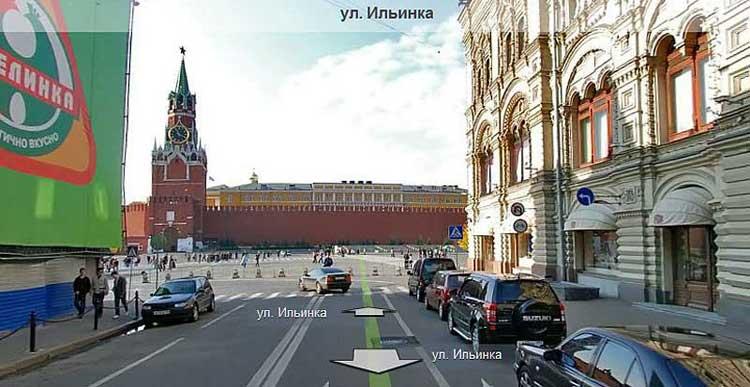 Въезд на Красную площадь с Ильинки, http://maps.yandex.ru
