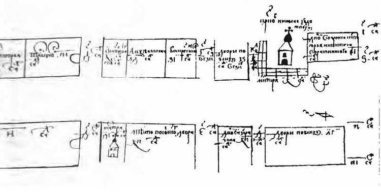 Фрагмент Плана XVII века: от Красной площади, до Ильинских ворот