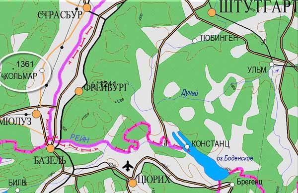 Кольмар, XXI. Карта составлена с использованием ПО Информационный геокомплекс