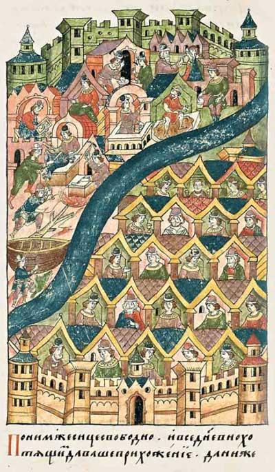 Лицевой летописный свод Ивана IV Грозного. Новая Троя царя Приама. Описание крепости и города. Фрагмент 5