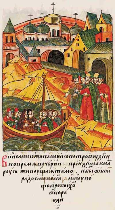 Лицевой летописный свод Ивана IV Грозного. 6897 (1397). Русские в Царьграде. Ипподром