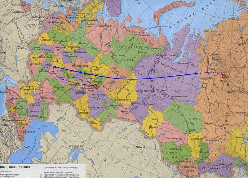 Смещение плеча Менделеева: 2002 год к 1897 году (По расчёту А.К. Гоголева)