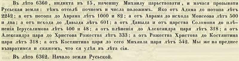 Софийская первая Летопись, 852. Начало земли Русской