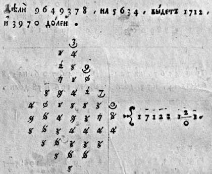 Л.Ф. Магницкий. Арифметика. Фрагмент описания методики деления числа 9 649 378 на 5 634 с результатом 1 712 и 3 970 долей