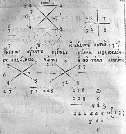 Л.Ф. Магницкий. Арифметика. Фрагмент описания методики сложения «чисел ломаных»; пример сложения дробных чисел 6 ? + 7 1/8 с результатом 13 7/8