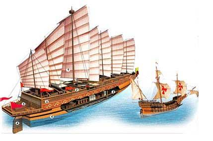 Фото одного из «титаников» Чжэн Хэ (400 футов длиной) в сравнении с европейским судном того времени (85 футов). Заимствовано с http://www.popmech.ru/blogs/post/634-velikiy-morskoy-put-kitayskogo-admirala-chzhen-he/