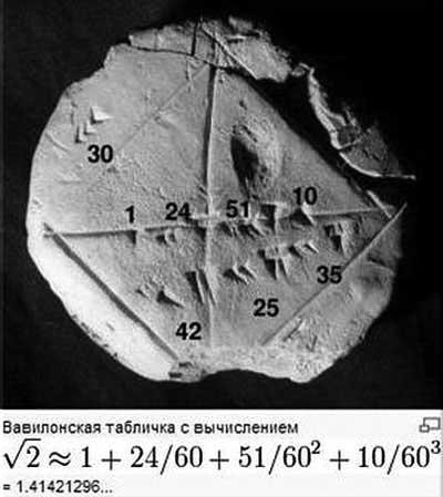 Википедия. Вавилонская табличка с вычислением
