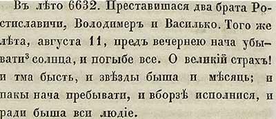 Тверская летопись, 1124. Затмение Солнца