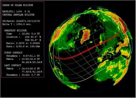 Кёльнская королевская хроника. Проверка даты солнечного затмения в программе Синобу Такесако  EmapWin. Расчётная дата solar eclipse 31 мая 1109 года в указанном регионе совпадает с указанной в источнике