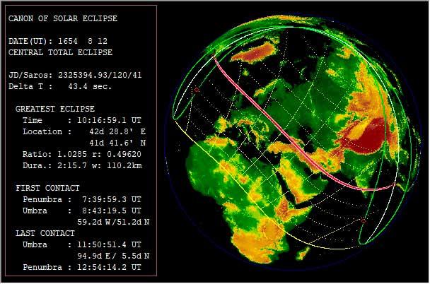 Аракел Даврижеци. Проверка даты солнечного затмения в программе Синобу Такесако  EmapWin. Расчётная дата solar eclipse для 12 августа 1654 года совпадает с указанной автором