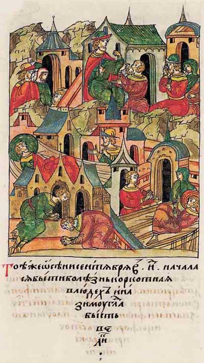 Лицевой летописный свод Ивана IV Грозного. 6930 (1430): Эпидемия. Описание болезни – судороги