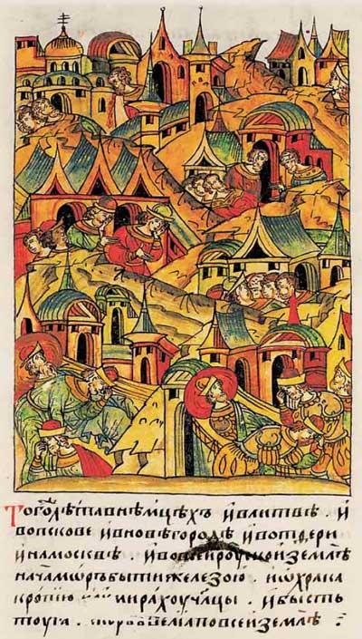 Лицевой летописный свод Ивана IV Грозного. 6932 (1432): Эпидемия на Руси и в Ливонии. Описание болезни – кашель кровью