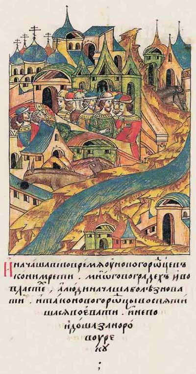 Лицевой летописный свод Ивана IV Грозного. 6952 (1452). Импорт эпидемий из Европы на ногах немекого воинства фрагм. 2