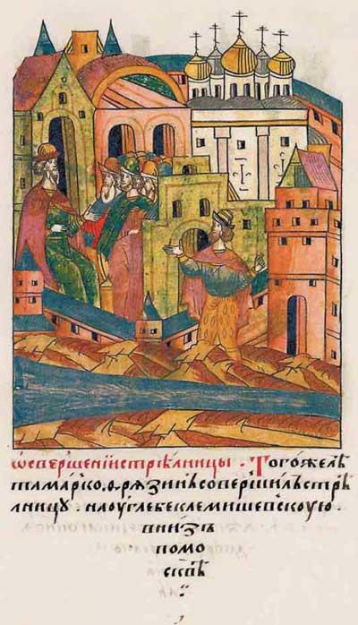 Лицевой летописный свод Ивана IV Грозного. XV век: строительный бум – фрагм. 6