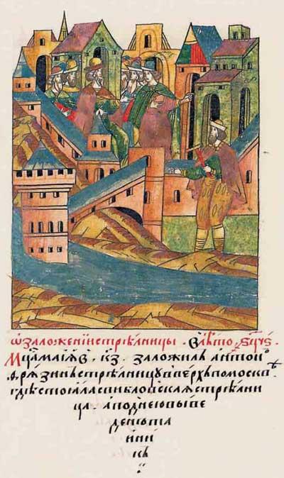 Лицевой летописный свод Ивана IV Грозного. XV век: строительный бум – фрагм. 7