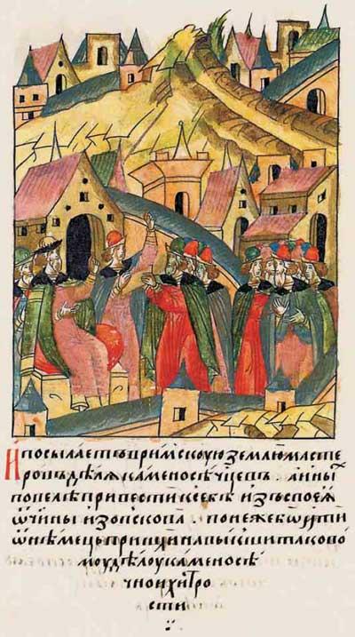 Лицевой летописный свод Ивана IV Грозного. 6982 (1482). Неудачное строительство и вызов Аристотеля Фиораванти - 2