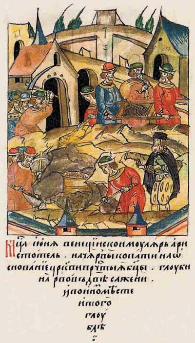 Лицевой летописный свод Ивана IV Грозного. XV век: строительный бум – фрагм. 3