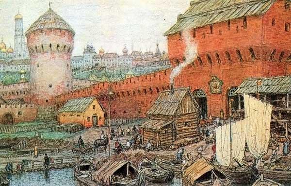 А. Васнецов. Спасские Водяные ворота Китай-города в XVII веке