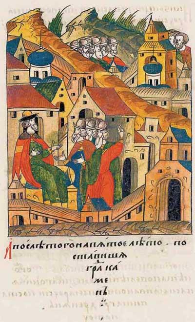 Лицевой летописный свод Ивана IV Грозного. 7017 (1517): Устройство деревянной крепости в Туле. Начало строительства каменной крепости