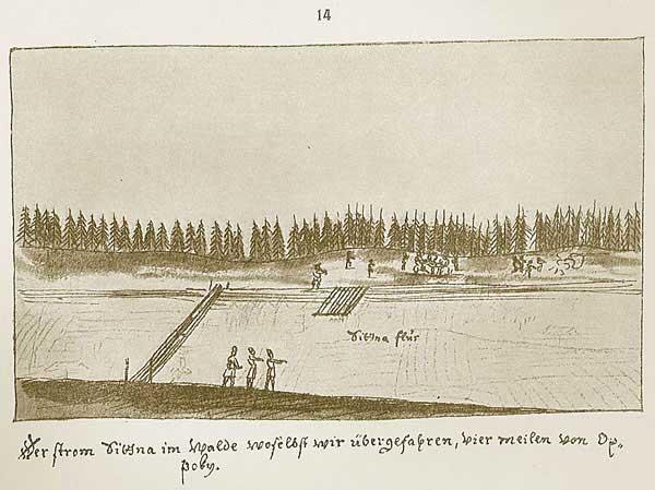 Альбом Мейерберга, Речка Ситна в лесу, где мы имели переправу, в четырёх милях от деревни Опоки.