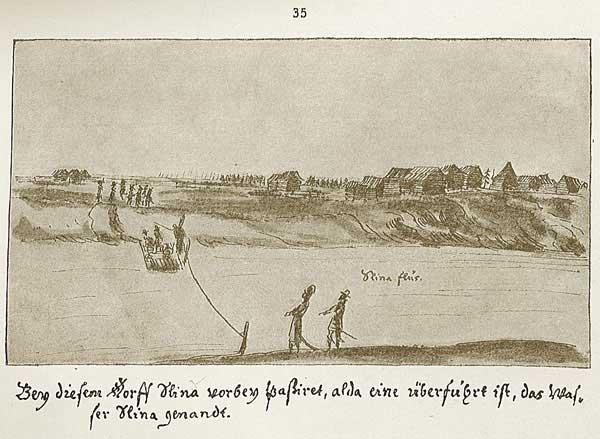 Альбом Мейерберга, Проехали мимо этого селения, называемого Шлина, где находится перевоз через реку Шлину(на рис. надпись «Река Шлина»).