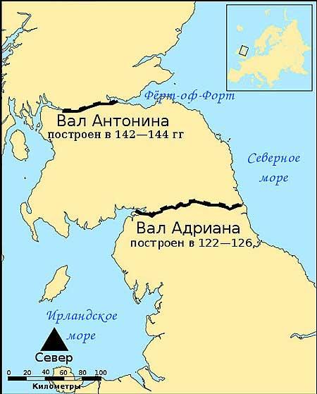 Англия. Схема валов. http://www.caingram.info/Scotland/Bearsden/Antonine_wall_map.jpg