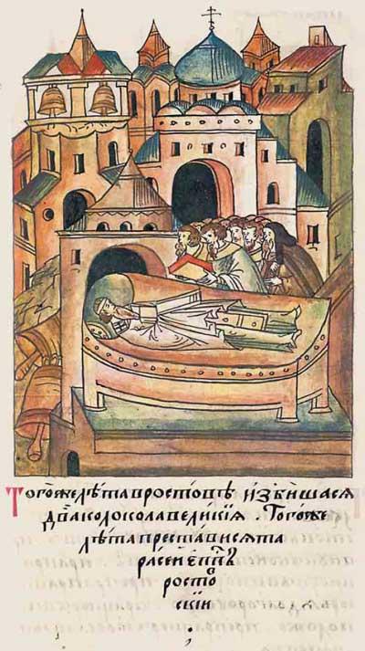Лицевой летописный свод Ивана IV Грозного. . 6812 (1312). В Ростове разбились два колокола