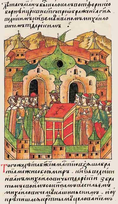 Лицевой летописный свод Ивана IV Грозного. 6911 (1411): Литьё металлов – колокол в Твери