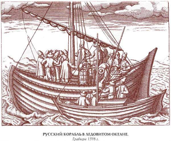 Сигизмунд Герберштейн. Русский корабль в Ледовитом океане, гравюра 1598 года из [16.27]
